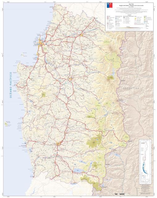 Mapa rodoviário do Centro do Chile - região Biobio e Araucania