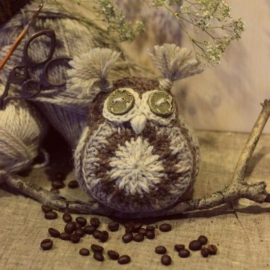 1000 схем амигуруми на русском: Кофейная сова крючком