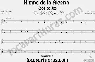 PARTITURAS EN CLAVE DE SOL (treble clef) para flautas, saxofones, trompetas, violines, oboes, sopranos, tenores, cornos... Easy sheet music beginners Partitura del Himno de la Alegría fácil en Do Mayor C