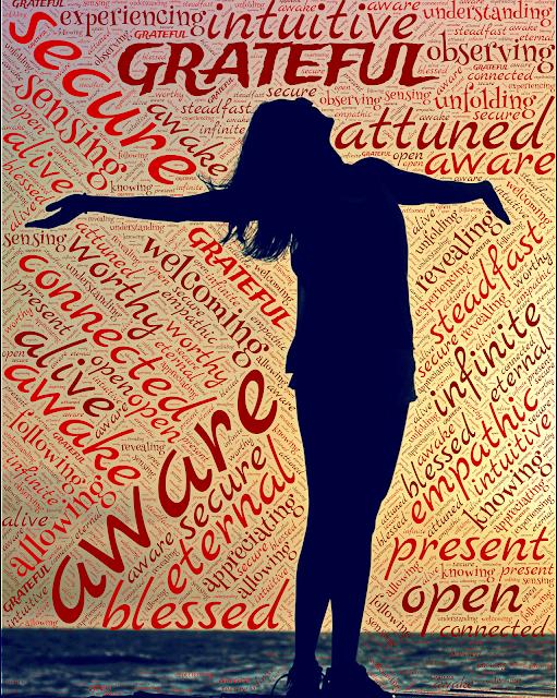 Gratitude word graphic; alive, infinite, blessed, secure, aware, grateful