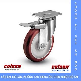 Bánh xe đẩy inox vật liệu bánh xe PU đỏ | 2-4456-944-BRK4, www.banhxepu.net