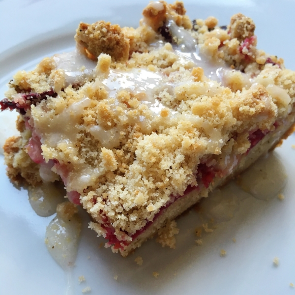 Plum crumble bar- the best crumble recipe I've tasted! Works well with blueberries too!