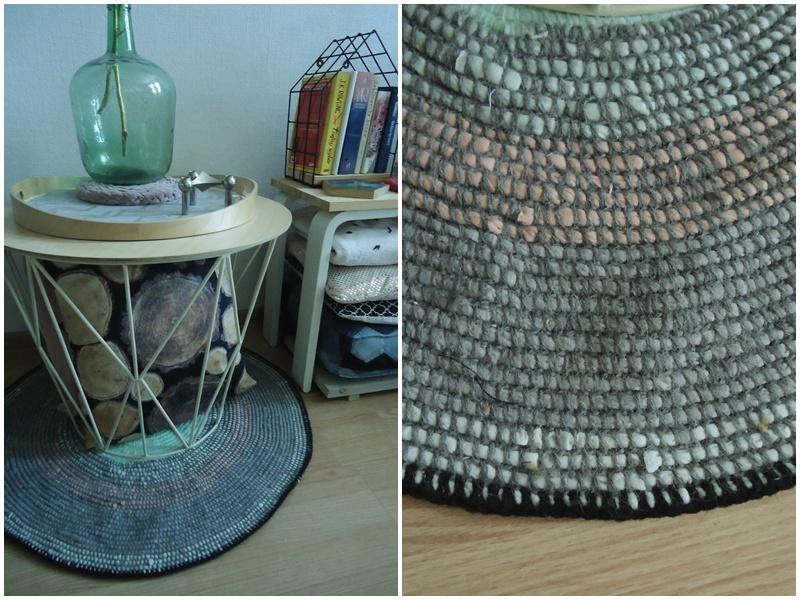 bawełniany dywanik w włóczki zrobionej z t-shertów