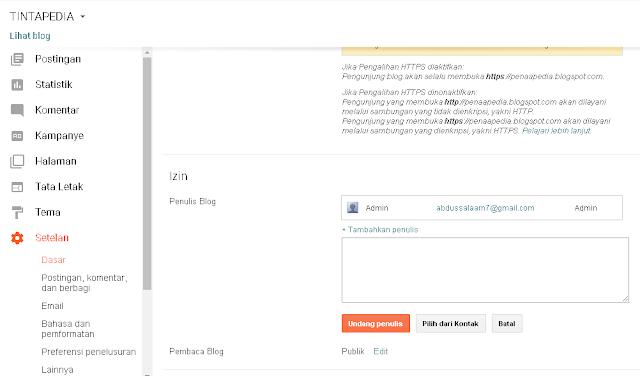 Cara Mudah Menambah Admin Di Blogspot