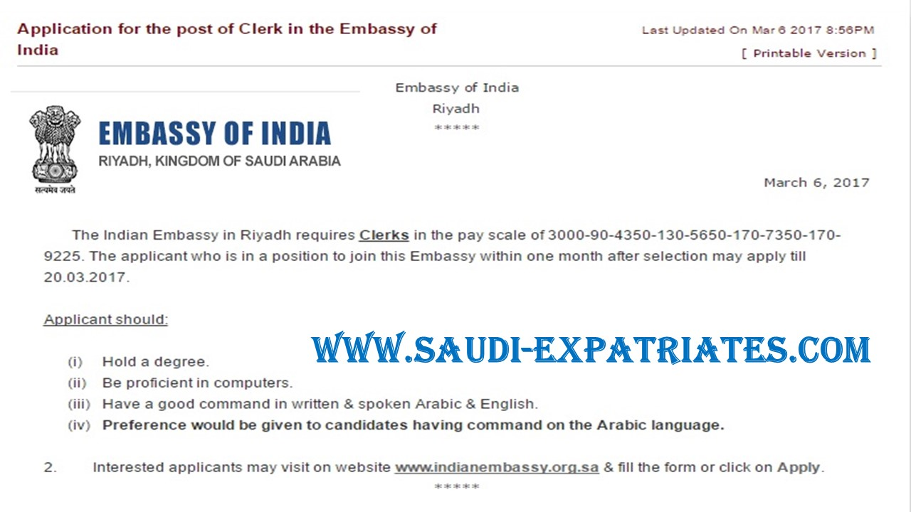 Clerk Job In Riyadhs Indian Embassy
