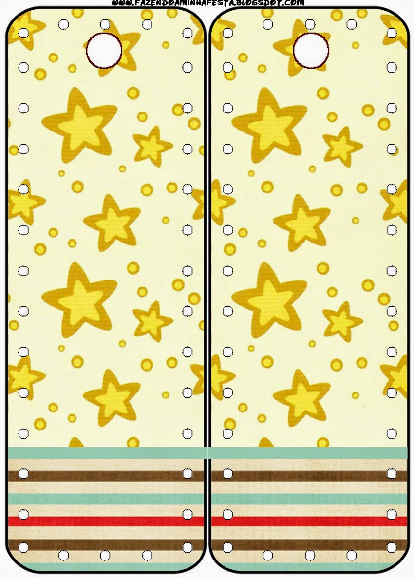 Marcapaginas para Imprimir Gratis Estrellas Doradas y Rayas de Colores.