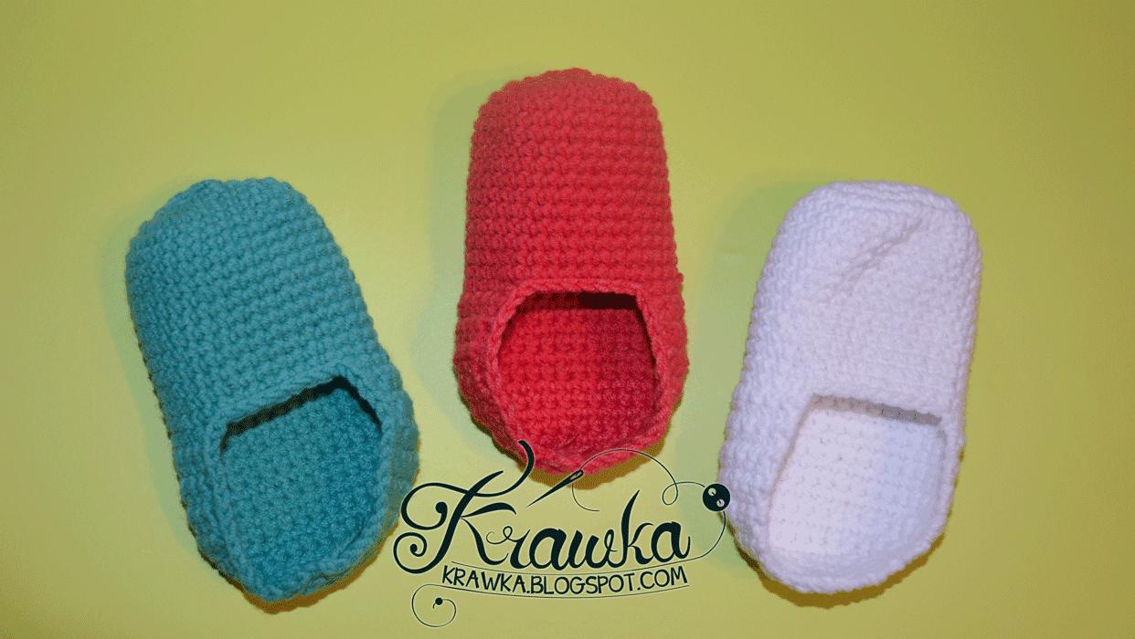 Baza szydełkowego bucika dziecięcego w różnych kolorach, Crochet Bootie base pattern