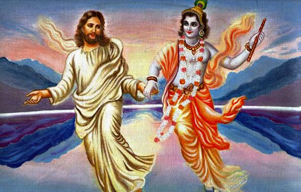 ilustracion de jesus y krishna sosteniéndose de la mano