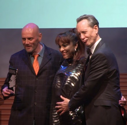 Richard Jones receiving the Director Award from Danielle de Niese, with Richard E Grant - Opera Awards 2015