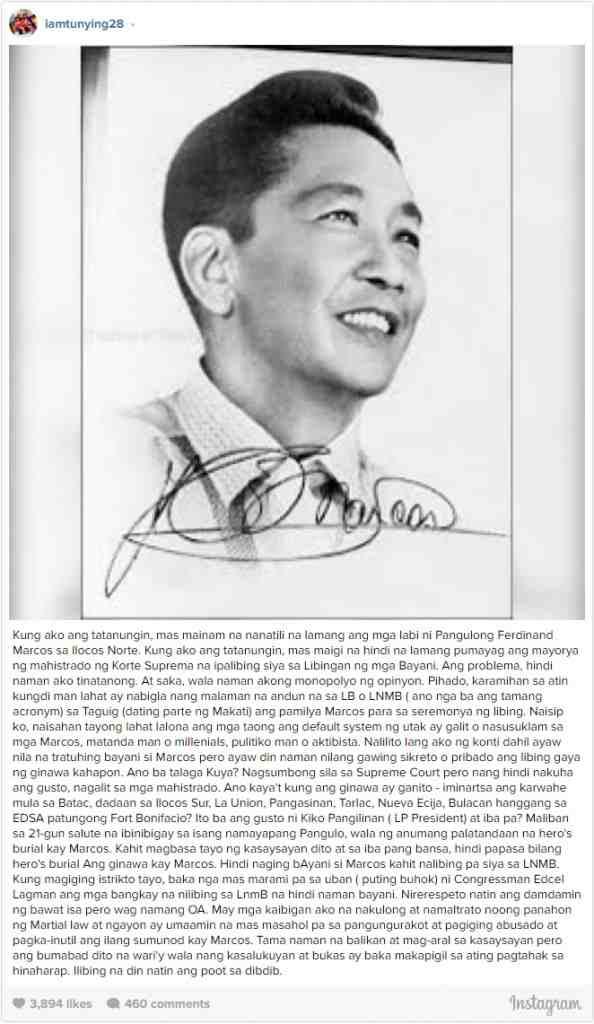 Anthony Taberna On Marcos' Burial At LNMB: 'Ilibing na din natin ang poot sa dibdib.