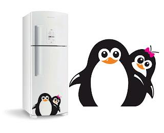 Pinguim Adesivo de Geladeira Vetor