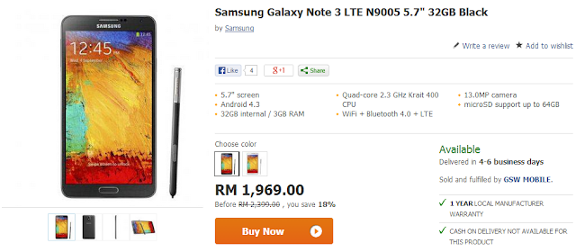 Samsung Galaxy Note 3 at RM1,969