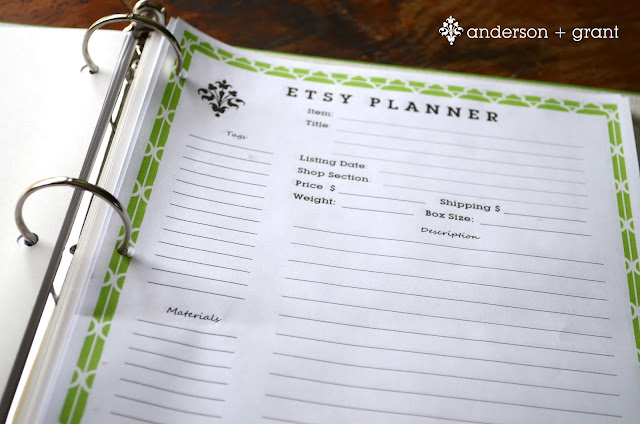 photo regarding Etsy Printable named No cost Printable Etsy Planner anderson + grant