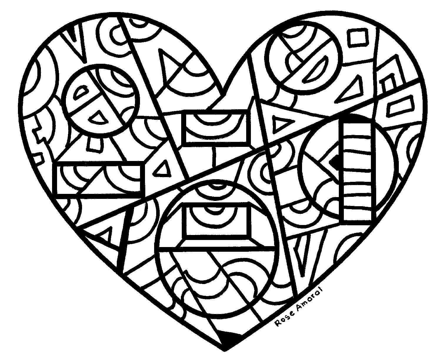 Colorir Imagens Coração Para Colorir: Rose AmarArtes: Coração Para Colorir