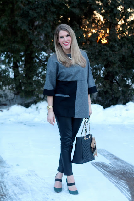 grey and black SheIn tunic with leather pants, green heels and black quilted tote