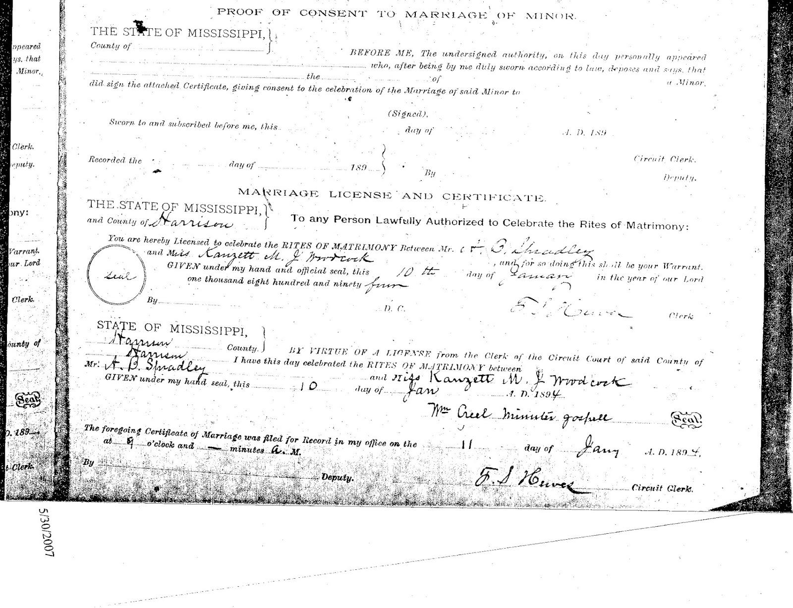 Spradley genealogy january 10 1894 ab spradley married kanzett mj woodcock in harrison county mississippi marriage records harrison county mississippi aiddatafo Images
