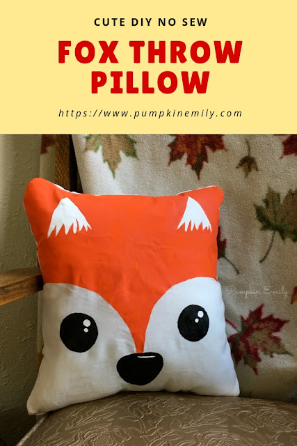 Cute DIY No Sew Fox Throw Pillow