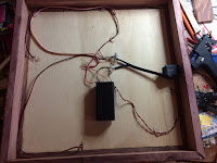 All wired up and wires secured to the bottom of the curio box
