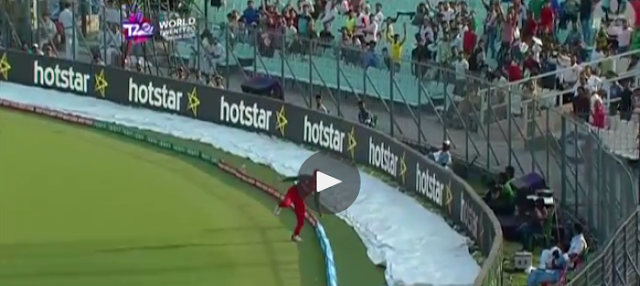 Pakistan may have won their first World T20 match against Bangladesh thanks to captain Shahid Afridi's blistering batting at Eden Gardens on Wednesday.   But the most memorable moment of the match came from Soumya Sarkar of Bangladesh, who took a stunning catch to dismiss Pakistan's Mohammad Hafeez.