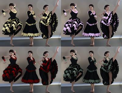 dForce Frolic Dress Set for Genesis 3 and 8 Female
