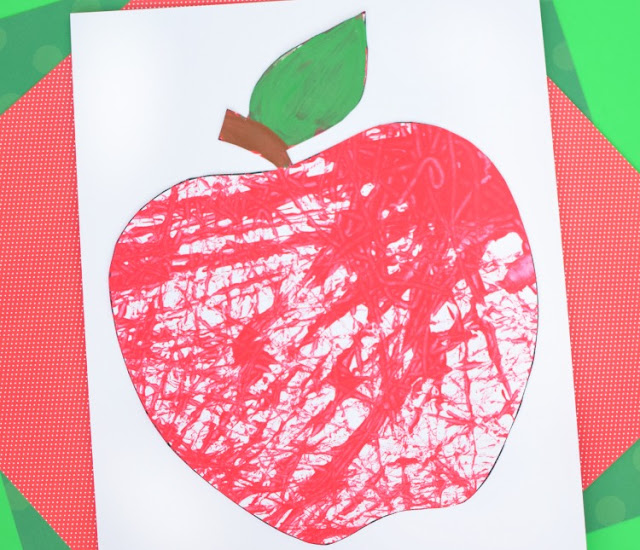 Marble Painted Apples- fun fall process art activity for preschoolers, kindergarteners, or elementary kids. Simple materials for this painting craft!
