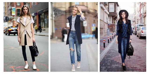Жилет с джинсами и кроссовками уличная мода