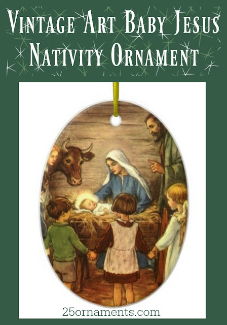 The vintage art on this Baby Jesus Nativity Ornament evokes memories of an old-fashioned Christmas and days gone by.