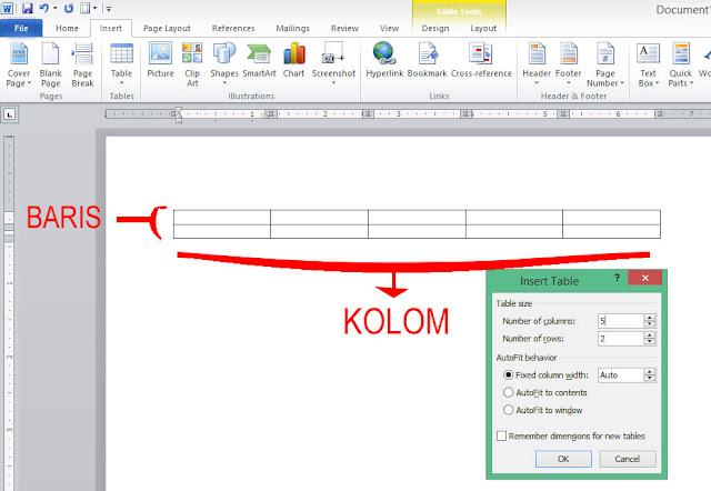 Cara membuat table di ms word