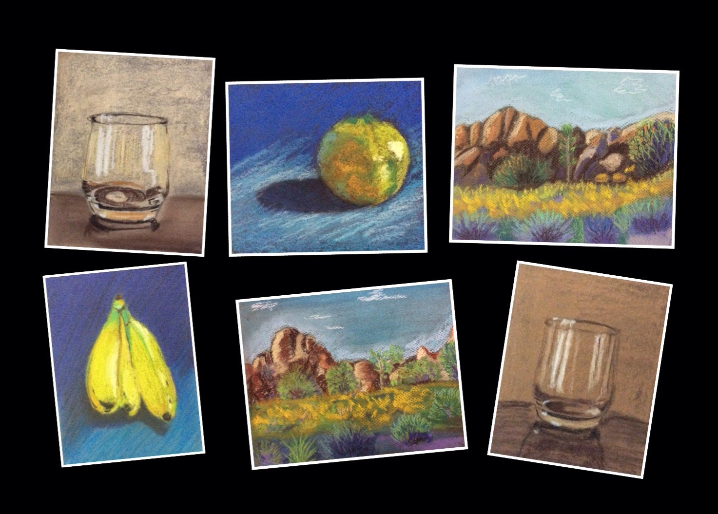 soft pastel paintings done during a Basic soft Pastel workshop conducted by Manju Panchal