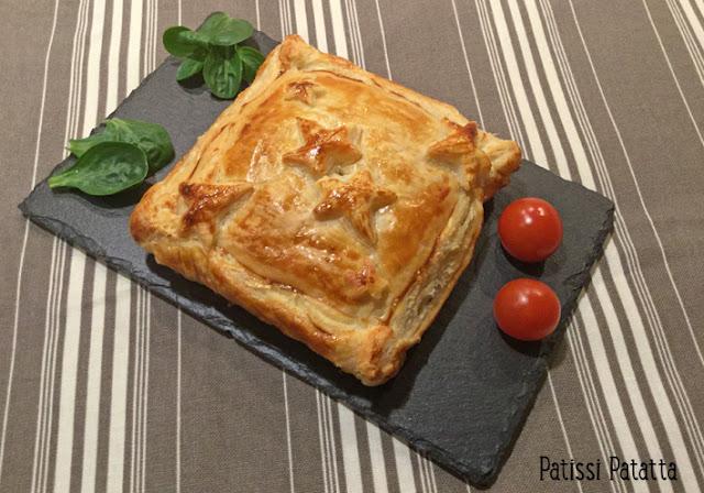recette de feuilleté au foie gras, recette de St Valentin, foie gras et pommes, foie gras en feuilleté, recette festive, confit d'échalote et foie gras, cuisiner du foie gras,