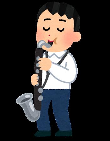 バスクラリネットを演奏する男子学生のイラスト(吹奏楽)