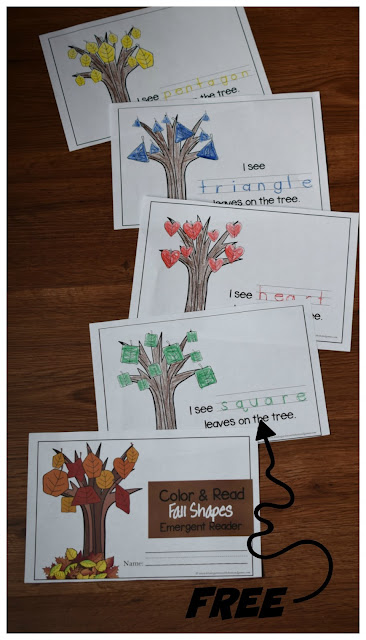 FREE Leaf Fall Shapes Emergent Reader - kids will have fun with this free printable where they will color and readabout fall shapes. This is such a fun, LOW PREP activity to help preschool, kindergarten, and first grade kids learn 13 shapes while strengthening fine motor skills with a fun fall theme. Perfect for extra practice, homework, seat work, math centers, and more. #shapes #fallmath #shapeworksheets
