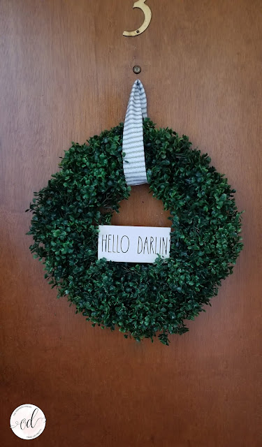 Rae Dunn Inspired farmhouse boxwood wreath project.