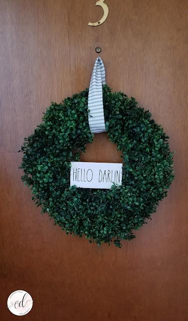 Rae Dunn Inspired farmhouse boxwood wreath project.