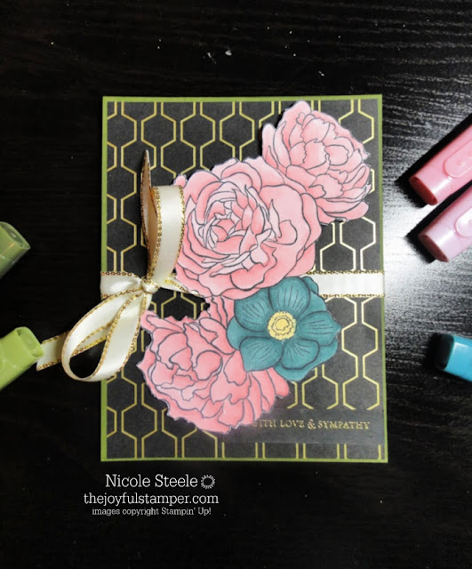 sympathy card using Stampin' Up!'s Breathtaking Bouquet set & Golden Honey Designer Series Paper