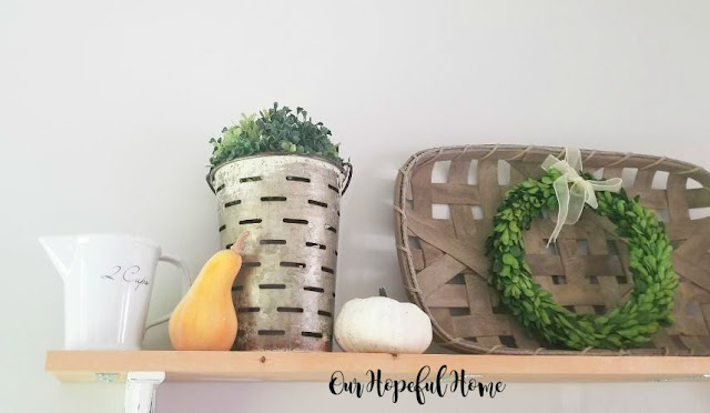 farmhouse shelves fall decor tobacco basket gourds boxwood wreaths olive buckets ironstone measuring cup