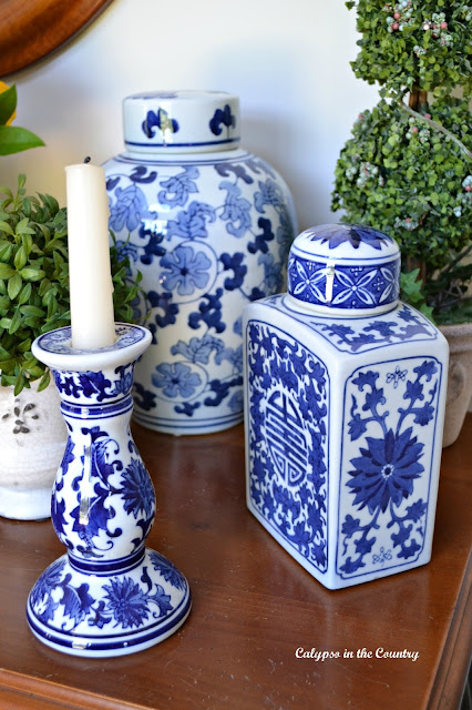 Collection of Blue and White Porcelain displayed together on my foyer table