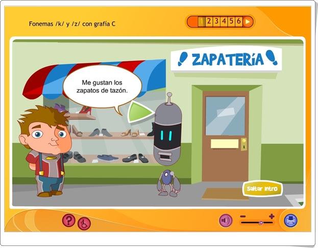 """La ortografía: Fonemas """"k"""" y """"z"""" con grafía """"c"""" (Aplicación interactiva de Lengua Española de Primaria)"""
