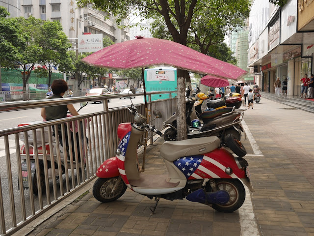 motor scooter with US flag design in Bengbu, China