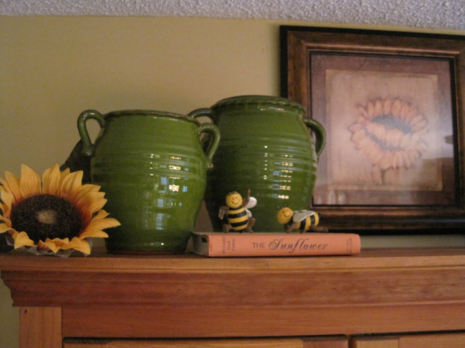 On Crooked Creek: Kitchen Cabinet Going Green! - Decorating Top Of Cabinets With Sunflowers