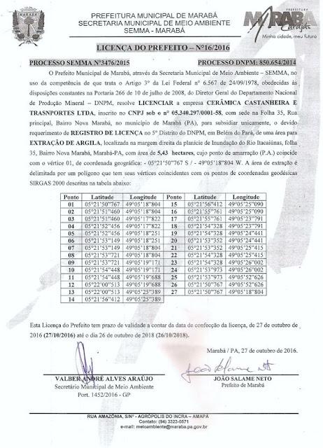 MARABÁ/PA - LICENÇA DO PREFEITO -- CERÂMICA CASTANHEIRA E TRANSPORTES LTDA.