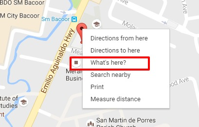 What's here option in Google Maps