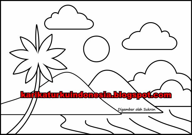 Karikaturku Indonesia Mewarnai Gambar Pemandangan Sederhana Untuk