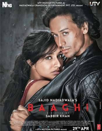 Poster Of Baaghi 2016 Hindi 350MB BRRip 480p ESubs Watch Online Free Download Worldfree4u