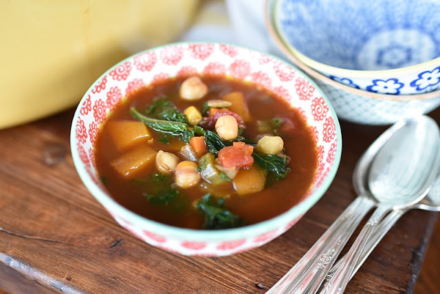 Lebanese Vegetable Soup with Chickpeas and Kale