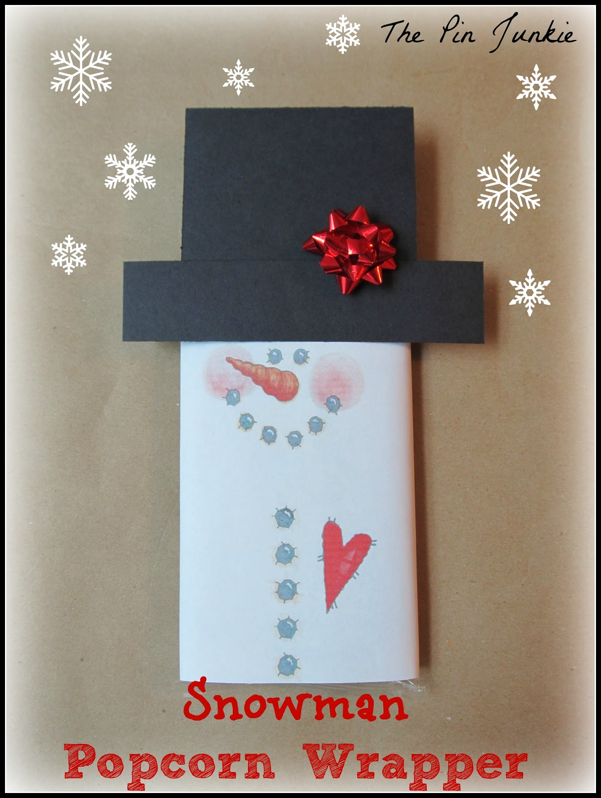 picture regarding Snowman Candy Bar Wrapper Free Printable called Snowman Printable Popcorn Wrapper