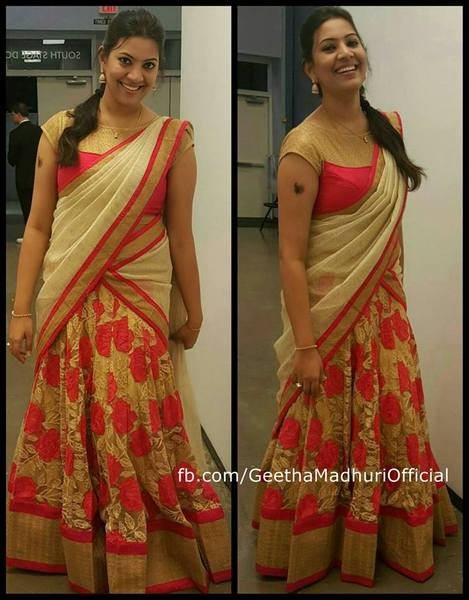 Geeta Madhuri floral Half Saree