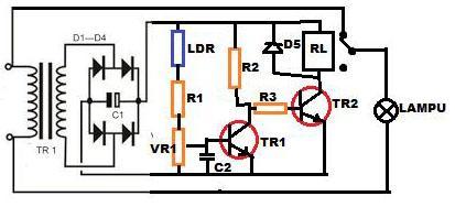Rangkaian Lampu Jalan Otomatis