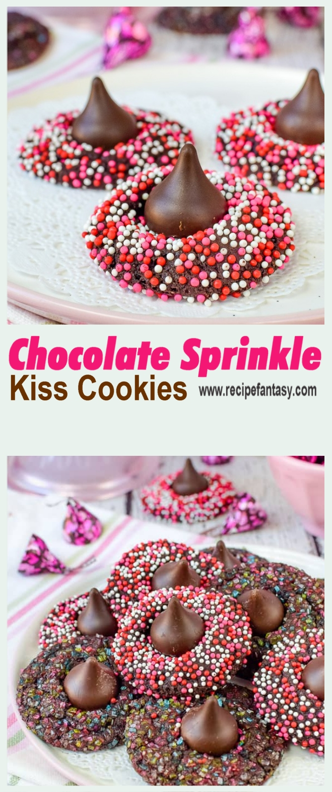 Chocolate Sprinkle Kiss Cookies