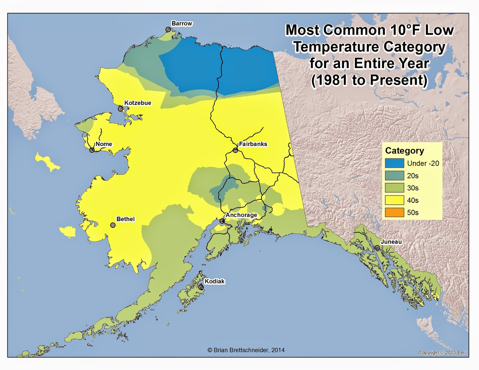 Deep Cold Alaska Weather Climate Low Temperature Categories